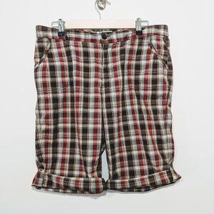 Dress Barn Madras Plaid Roll-tab Bermuda Shorts 10